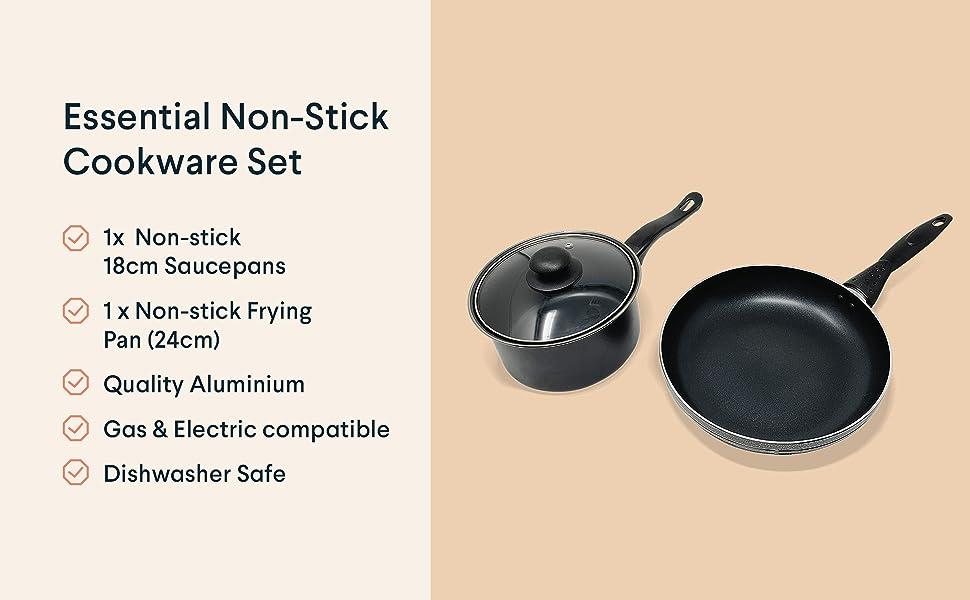 non-stick pan set saucepan frying pan bundle kit lid