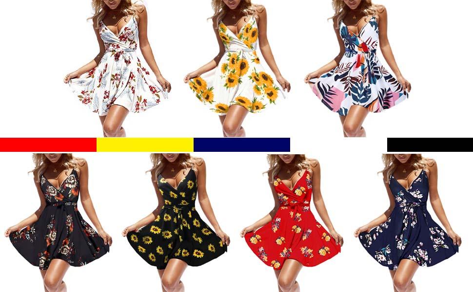 floral mini summer dress spaghetti strap skater dress