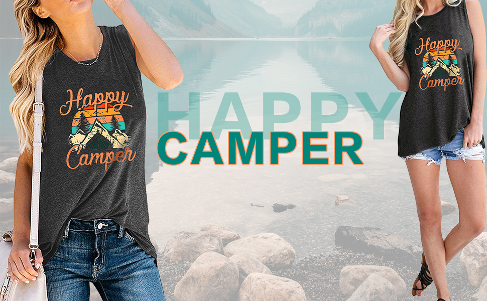 Womens Happy Camper Letter Printed Casual Tank Top Juniors Take A Hike Mountains Graphic Blouse Vest