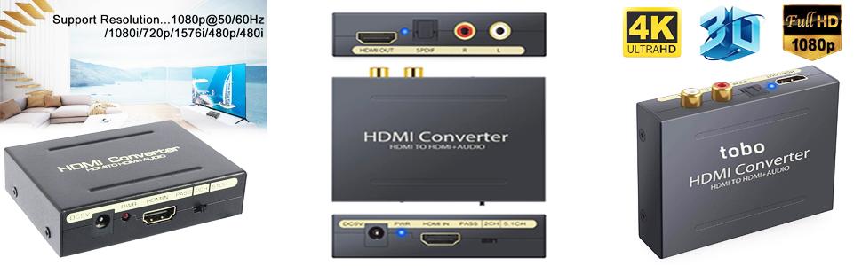 Tobo HDMI to HDMI Audio Extractor Converter Optical SPDIF RCA L/R Stereo Analog Video Audio Splitter
