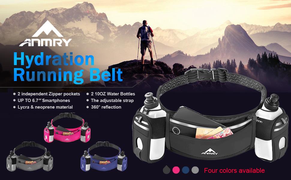 Running Belt with Water Bottle,Running Hydration Belt Waist Packs Bag
