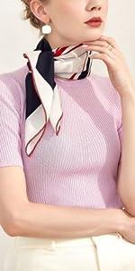 foulard soie blanc noir