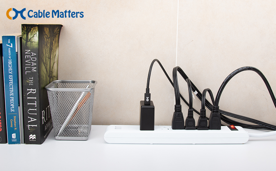Cable Matters 2-Pack Non-Polarized 2 Slot Power Cord 2 Slot Power Cable 400004-10x2 NEMA 1-15P to IEC C7 10 Feet