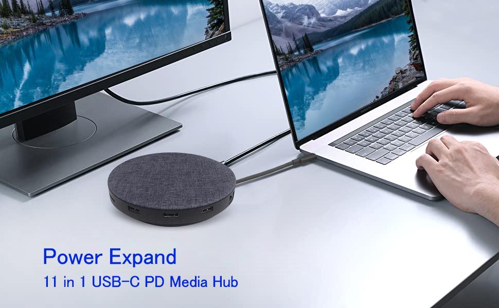 Hub USB C, adaptateur de concentrateur USB C PowerExpand + 11-en-1, avec HDMI 4K