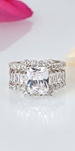 JEULIA 3 PC Wedding Ring Set 5.2ct Radiant Cut Moissanite Engagement Ring Wedding Promise