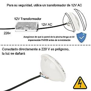 LEDMO RGBW Luz de Piscina, 40W Luces LED para Piscina PAR56, Iluminación de piscinas con Control Remoto, 12V AC/DC Impermeable IP68 Luces de piscina
