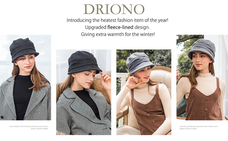 driono hat beanie newsboy cap cloche hat for women
