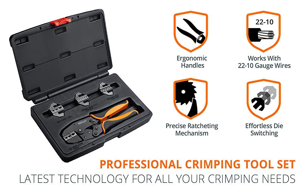 Professional Crimping Tool Set 5 PCS Ergonomic handles 22-10 AWG Wire Gauge