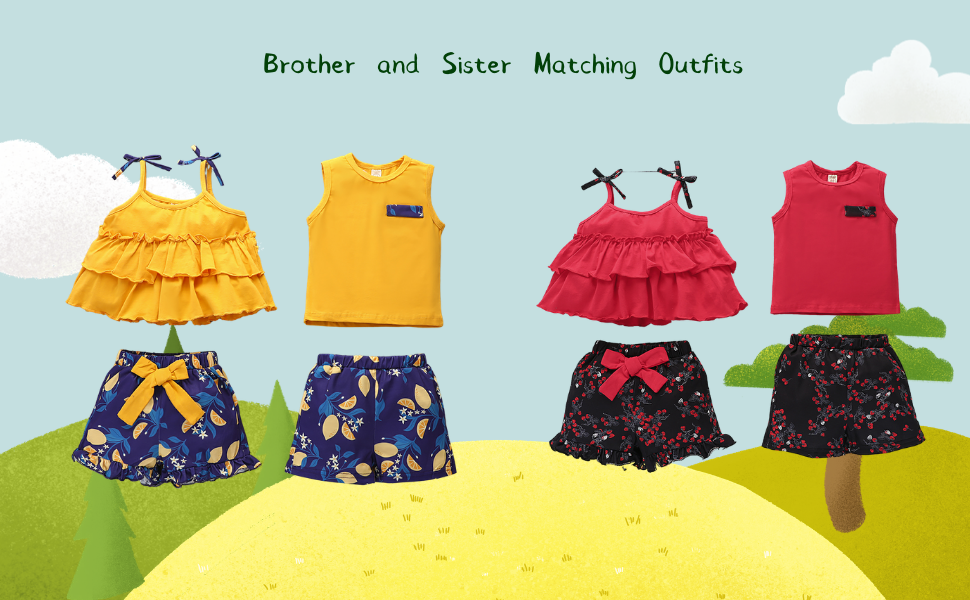 boys and girls matching clothes set