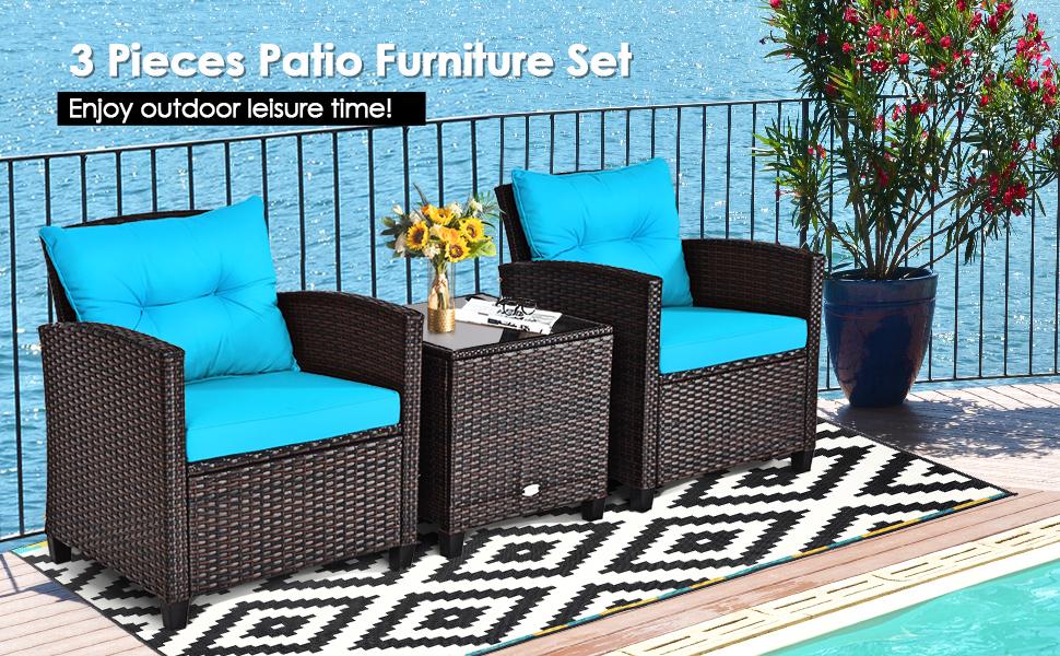 3 piece patio furniture set