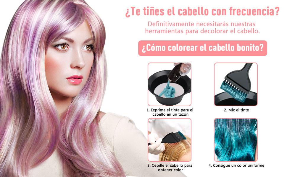 Umitive 16 Pcs Kit Tinte Pelo, Profesional Kit de Herramientas para Coloración incluye Peluquería Tazón, Cepillos, Cepillo de Doble Punta, Clips y ...