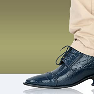 Liberty Exotic Men's Crocodile/Lizard Print Oxford Hand-Picked Non Leather Lace up Dress Shoes