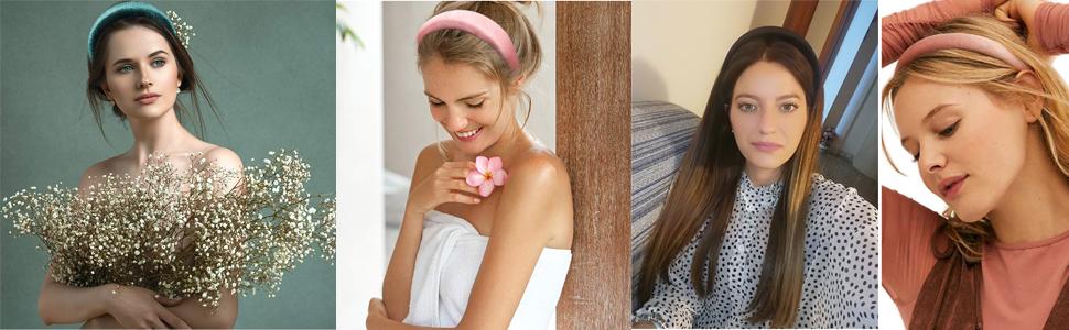 heabdands for women Thick Velvet Headband Padded Headbands
