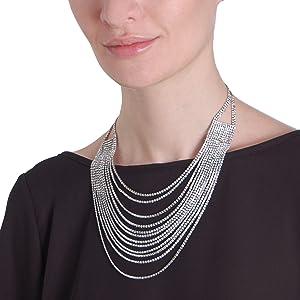 Layered Statement Necklace - Multi-Chain Waterfall Simulated Diamond Long Multistrand Chains Bib