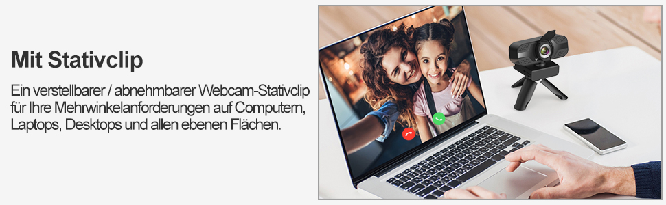 Webcam mit mikrofon 1080P Full HD mit Webcam Abdeckung