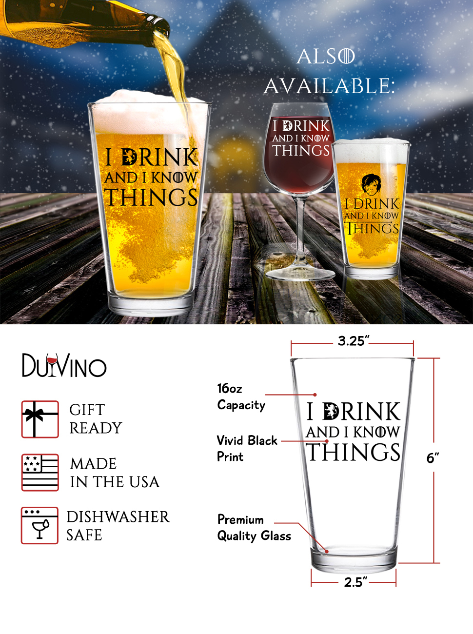 I Drink and I Know Things Beer Glass Solo