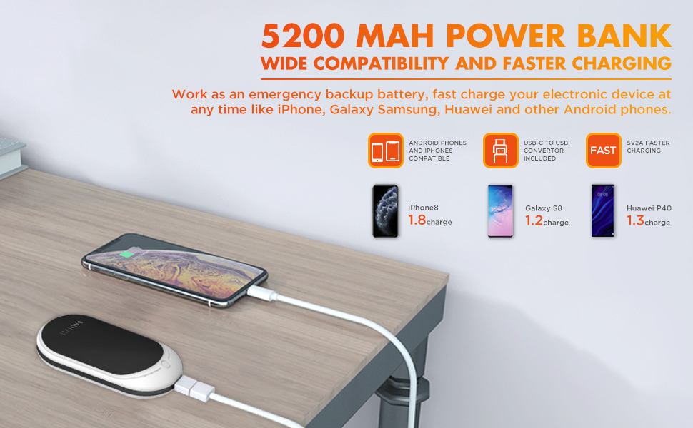 3s Quick Heat USB Rechargeable Pocket Warmer Heater Charger 5200mAh Power Bank