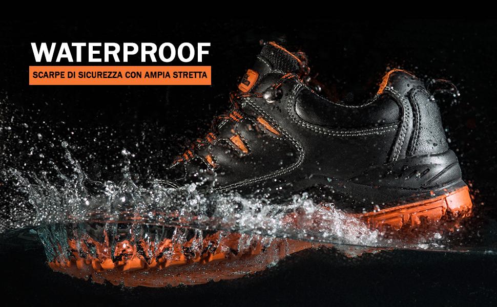 Scarpe da lavoro waterproof, scarpe di sicurezza con presa extra pianta larga S3 SRC