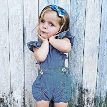 Calsunbaby Infant Baby Girls One Piece Short Sleeve Ripped Demin Jeans Ruffle Romper