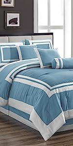 Caprice 7-Piece Comforter Set, Blue