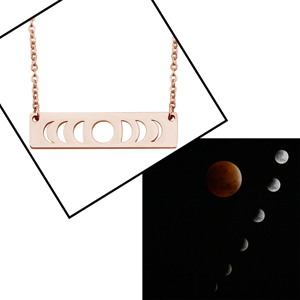 Moon Phase Necklace Rose Gold