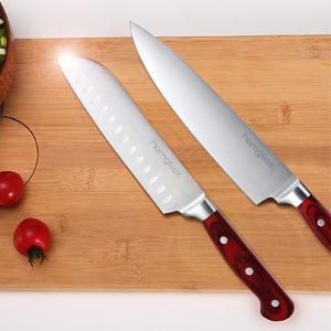 homgeek Cuchillos de Cocina, Juego de Cuchillos Profesional Hecho de Acero alemán X50Cr15 Incluye Bloque de Madera, Afilador de Cuchillos, Tijeras, 15 ...