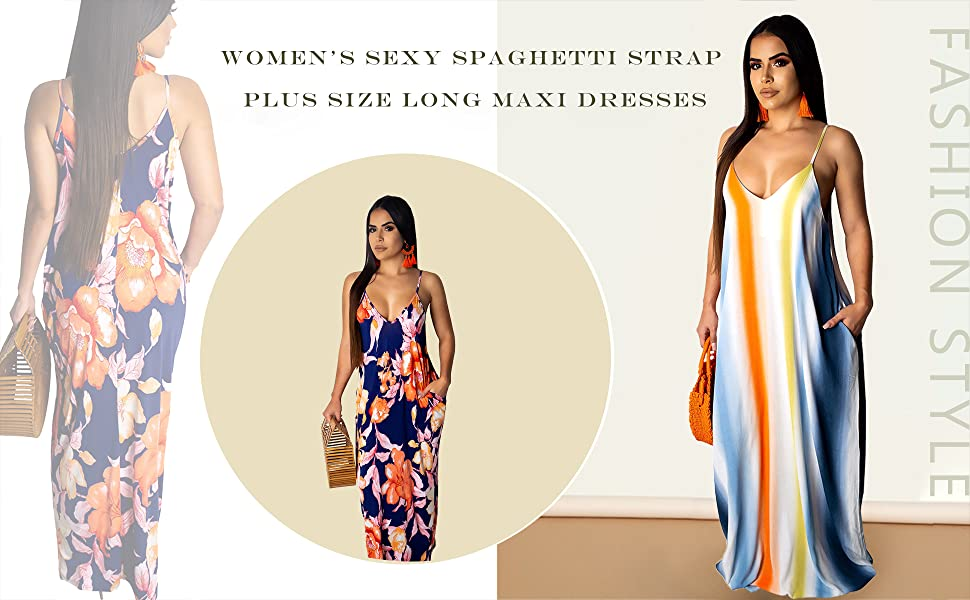Women's Sexy Spaghetti Strap Plus Size Long Maxi Dresses