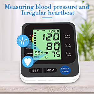 """4  Blood Pressure Monitor for Home Use with Large 3.5"""" LCD Display, Wowgo Digital Upper Arm Automatic Measure Blood Pressure and Heart Rate Pulse with Wide-Range Cuff,Three-Color Backlight Display 8c3cad81 34f3 493f 8511 77578493993f"""