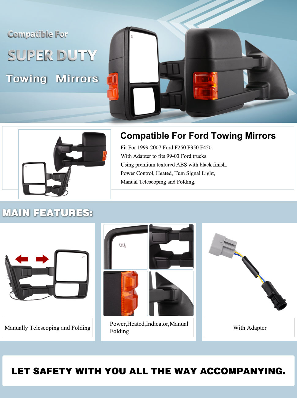 compatible for ford towing mirrors ford f250 f350 f450 f550 tow mirrors  pair for 1999-2007 side mirror power heated with signal light