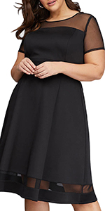 Nemidor Women's Mesh Sleeve Fit and Flare Elegant Plus Size Midi Party Dress