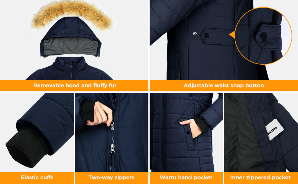 Women's Winter Coat Puffer Coats with Removable Faux Fur Hood