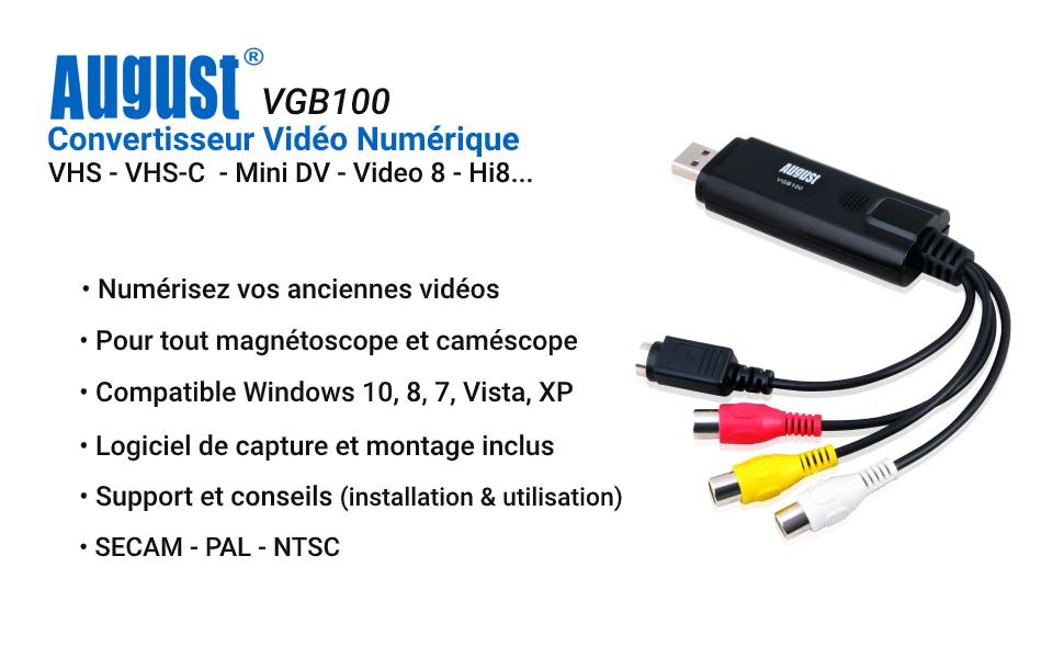 Convertisseur vidéo numérique et VHS d'août VGB100
