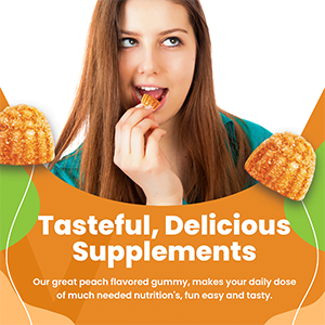 Our great peach flavored gummy, makes your daily dose of much needed nutrition's, fun easy and tasty