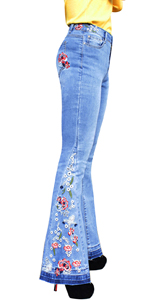 Women Embroidered Bell Bottom Jeans