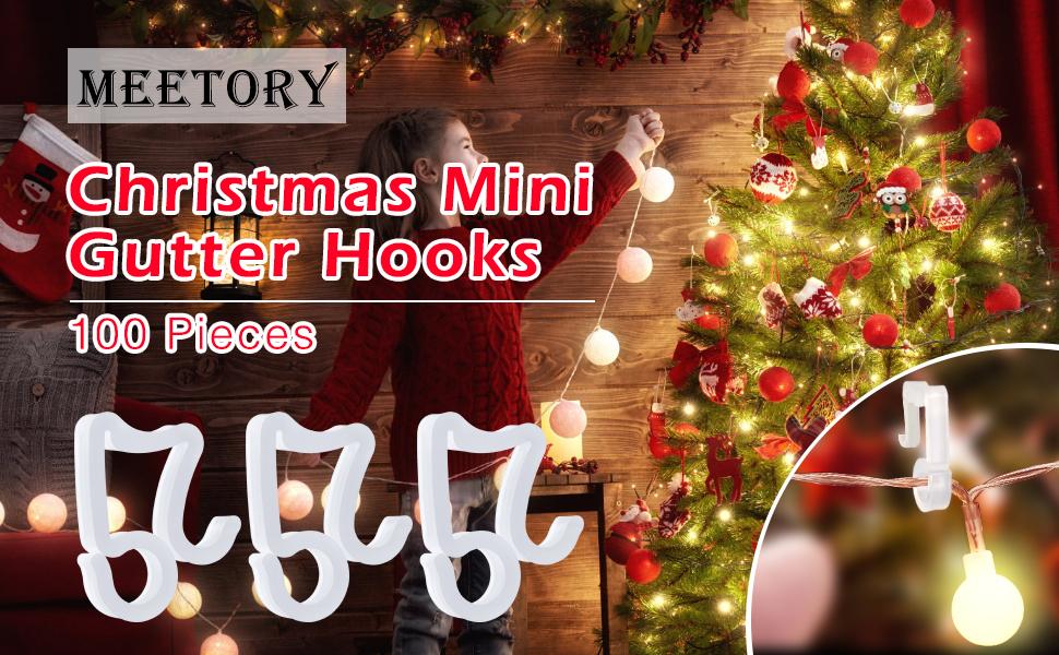 Weatherproof Plastic Light Clips Hooks for Xmas Meetory 100 Pieces Christmas Mini Gutter Hang Hooks Halloween Decoration Outdoor String Lights