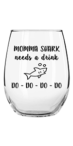 momma shark needs a drink funny stemless wine glass for her friend woman girlfriend mom wife