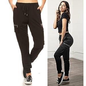 Shosho Womens Cargo Jogger Pants,Joggers,sweats,sweatpants,utility joggers,zipper pockets,black pant
