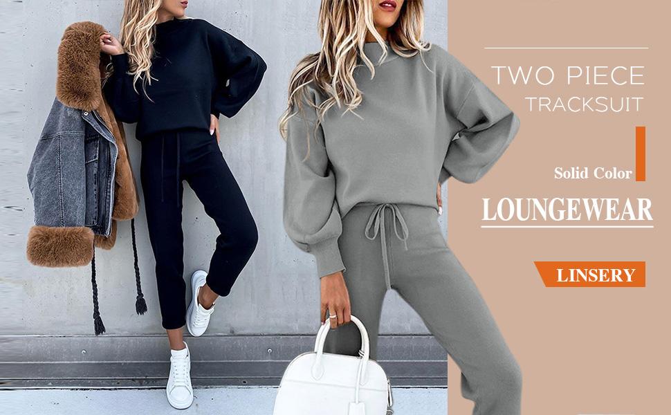 2 piesce sport sweatpants set tracksuit loungerwear gray