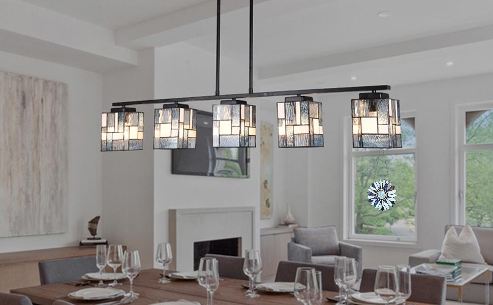 tiffany dining chandelier, pool table light, dining room light