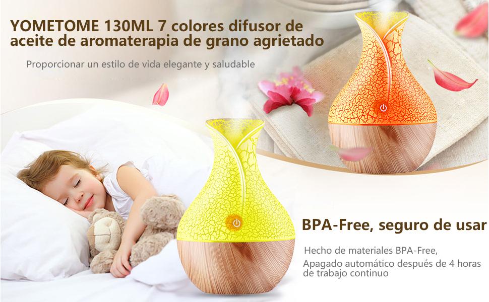YOMETOME Difusor de Aceites Esenciales,Difusores Humidificadores Aromas de 130ml 7 Color LED, Difusor de Aromaterapia Seguro y Elegante purificar el ...