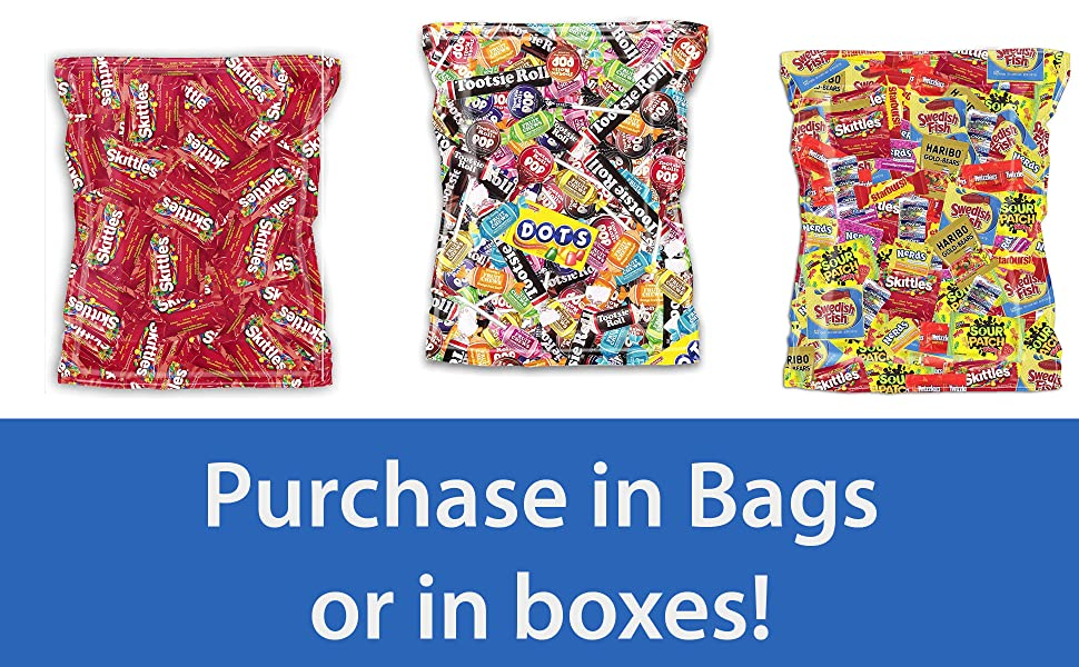bagged candy, skittles, tootsie, dots, sweets