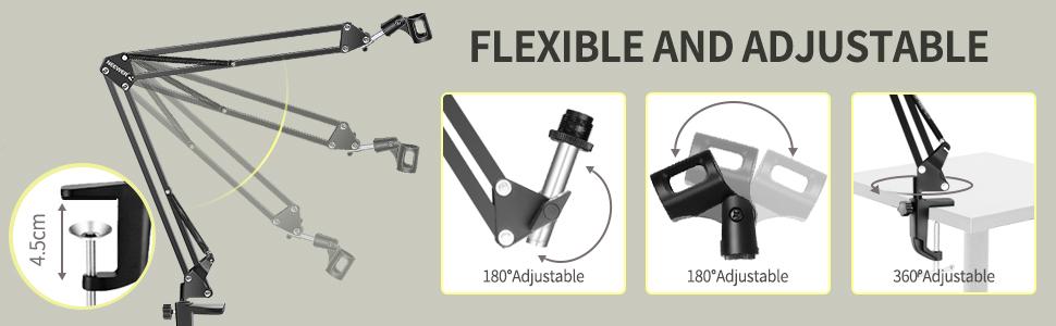 Microphone Stand Adjustable Studio Mic Stand Suspension Boom Scissor Arm with Pop Filter Windscreen