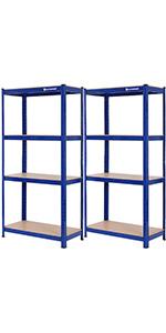 Lagerregal - 160 x 80 x 40cm - blau
