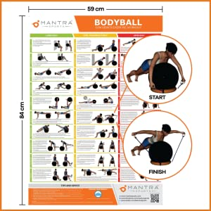 WALL POSTER CHART EXERCISE GUIDE EXERCISE YOGA BALL