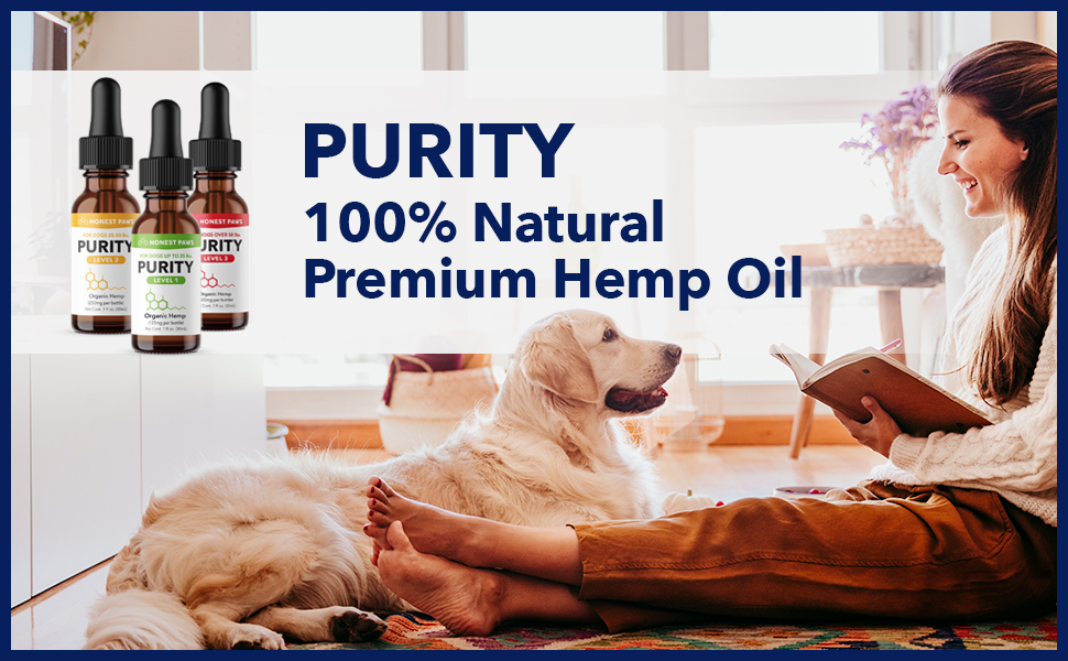 Purity Hemp Oil 100% with dog and owner happy three bottle variants of different hemp mg