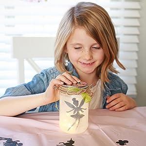 fairy lantern craft kit for kids gift age 5,6,7,8,9,10 glitter light lid fairy lights
