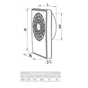VLANO ARIA WiFi Haus-L/üfter WLAN Steuerung Hygro Nachlauf sehr leise 17 dB Wohn-raum-Ventilator Bad-L/üfter WiFi Timer Einschlatverz/ögerung 2m