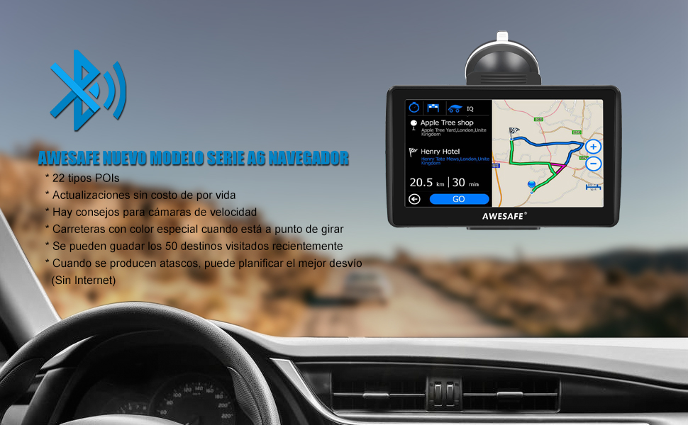 AWESAFE Navegador GPS para Coches de 7 Pulgadas con Bluetooth con 22 Tipos PDIs y Planificaciones Inteligentes de Rutas (con Mapas Recientes y Actualizaciones de por Vida): Amazon.es: Electrónica