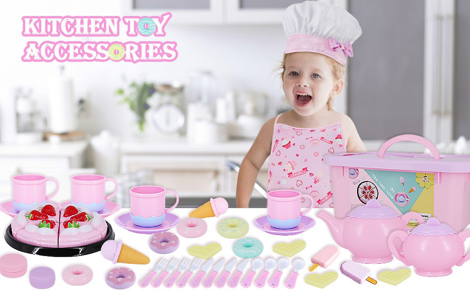 Tea toy play kitchen set tea party accessories for little girl