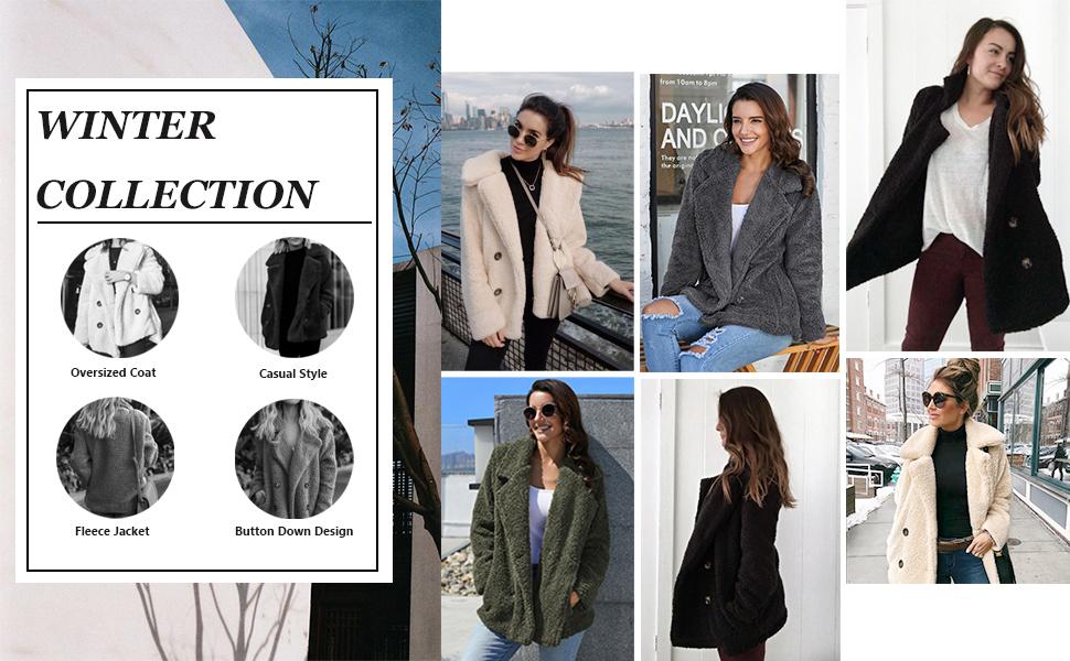 Casual Fuzzy Fleece Double Breasted Open Front Button Cardigan Jacket Coat Outwear